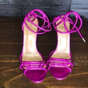 Aquazurra Laura Magenta Metallic Sandals 36 6